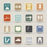Sewing equipment icons Stock Images