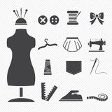 Sewing equipment icons Royalty Free Stock Photography