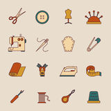 Sewing Equipment Icons Set Stock Photo