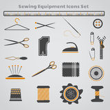 Sewing Equipment Icons Set Stock Photos