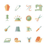 Sewing Equipment Icons Set Royalty Free Stock Photography