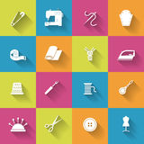 Sewing Equipment Icons Set Stock Image