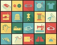 Sewing equipment icons set with thimble, needle. And fabrics  vector illustration in colored squares with long shadows Royalty Free Stock Photography
