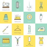Sewing Equipment Icons Stock Photos
