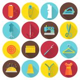 Sewing Equipment Icons Stock Photography