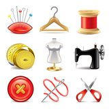 Sewing equipment icons vector set Stock Photos
