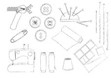 Sewing equipment illustration Royalty Free Stock Photo