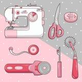 Sewing Equipment. Illustration of cartoon sewing equipment stock illustration