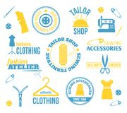 Sewing equipment labels Royalty Free Stock Photo
