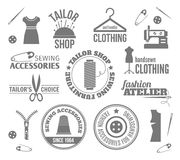 Sewing equipment labels Royalty Free Stock Images