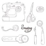 Sewing Equipment_lined design vector illustration
