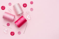 Sewing equipment and material for fabric Stock Photos