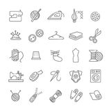 Sewing equipment and needlework icons set. Vector sewing equipment and needlework icons line set Royalty Free Stock Photo