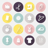 Sewing equipment and needlework. Multicolored icons for sewing, knitting, needlework, pattern. Small device. Vector illustration Royalty Free Stock Photo