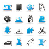 Sewing equipment and objects icons Stock Images