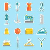 Sewing equipment stickers Royalty Free Stock Photo