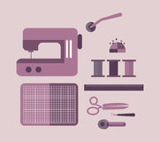 Sewing equipment and tailor needlework accessories. Royalty Free Stock Images