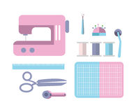 Sewing equipment and tailor needlework accessories. Royalty Free Stock Photos