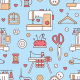 Sewing equipment, tailor supplies blue colored seamless pattern with flat line icons set. Needlework accessories - Stock Images
