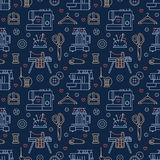 Sewing equipment, tailor supplies blue colored seamless pattern with flat line icons set. Needlework accessories -. Sewing embroidery machine, pin, needle, DIY Royalty Free Stock Image