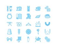 Sewing equipment, tailor supplies flat line icons set. Needlework accessories - sewing embroidery machine, pin, needle. Thread, zipper, hanger and other DIY royalty free illustration