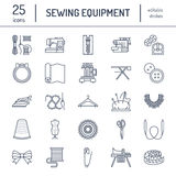 Sewing equipment, tailor supplies flat line icons set. Needlework accessories - sewing embroidery machine, pin, needle Royalty Free Stock Photos