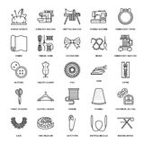 Sewing equipment, tailor supplies flat line icons set. Needlework accessories - sewing embroidery machine, pin, needle. Thread, zipper, hanger, DIY tools Stock Images