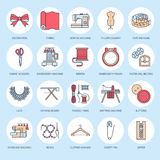 Sewing equipment, tailor supplies flat line icons set. Needlework accessories - sewing embroidery machine, pin, needle. Thread, zipper, hanger and other DIY Stock Images