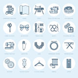 Sewing equipment, tailor supplies flat line icons set. Needlework accessories - sewing embroidery machine, pin, needle Stock Photography
