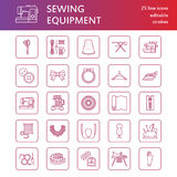 Sewing equipment, tailor supplies flat line icons set. Needlework accessories - sewing embroidery machine, pin, needle. Thread, zipper, hanger, DIY tools royalty free illustration