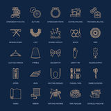 Sewing equipment, tailor supplies flat line icons set. Needlework accessories - sewing embroidery machine, pin, needle. Thread, zipper, hanger, DIY tools Stock Image