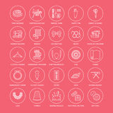 Sewing equipment, tailor supplies flat line icons set. Needlework accessories - sewing embroidery machine, pin, needle. Thread, zipper, hanger, DIY tools Royalty Free Stock Image