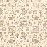Sewing equipment, tailor supplies seamless pattern. With flat line icons set. Needlework accessories - sewing embroidery machine, pin, needle, thread, DIY tools Stock Photo