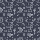 Sewing equipment, tailor supplies seamless pattern with flat line icons set. Needlework accessories - sewing embroidery. Machine, pin, needle, thread, DIY tools Stock Photo