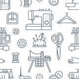 Sewing equipment, tailor supplies seamless pattern with flat line icons set. Needlework accessories - sewing embroidery. Machine, pin, needle, thread, DIY tools Royalty Free Stock Image