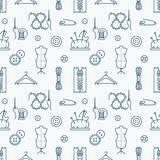 Sewing equipment, tailor supplies seamless pattern with flat line icons set. Needlework accessories - sewing needle. Thread, DIY tools. White and blue backdrop Royalty Free Stock Photography