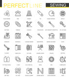 Sewing equipment thin line web icons set. Outline needlework icon design. vector illustration