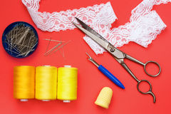 Sewing equipment for working on  fabric Royalty Free Stock Image