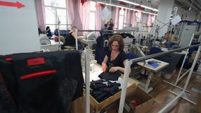 Sewing factory. Clothing industry. Sewing of outer clothing. stock footage
