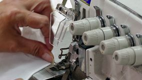 Sewing Finely Fabric With Sewing Machine stock footage