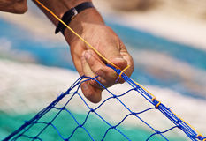 Sewing Fishing net Royalty Free Stock Photos