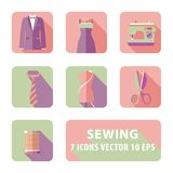 Sewing flat with accessories. Green and pink color Stock Photography