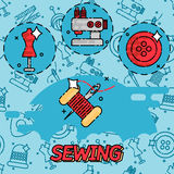 Sewing flat concept icons Royalty Free Stock Photo