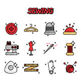 Sewing flat icons set Stock Images