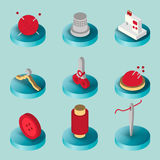 Sewing flat isometric icons. Hand drawn supplies, tools, design elements Royalty Free Stock Images
