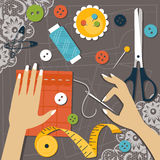 Sewing. Flat vector illustration Royalty Free Stock Photography