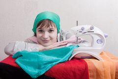 Sewing girl Stock Image