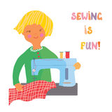 Sewing girl - cute illustration Royalty Free Stock Image