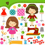 Sewing girls royalty free illustration