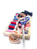 Sewing goods on white background Stock Photo